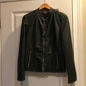 Dark green leather jacket